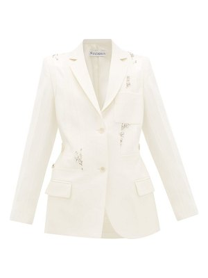 J.W.ANDERSON crystal-embellished panelled-wool suit jacket