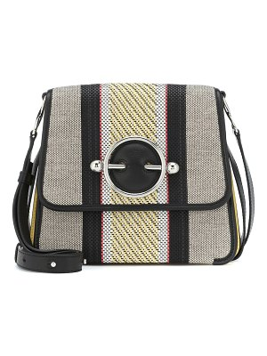 J.W.ANDERSON disc canvas and leather shoulder bag