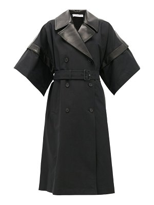 J.W.ANDERSON double-breasted leather-panelled cotton coat