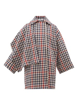 J.W.ANDERSON draped panel checked wool blend coat