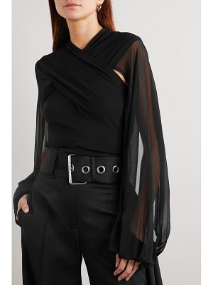 J.W.ANDERSON draped stretch-jersey and tulle blouse