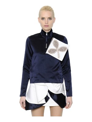 J.W.ANDERSON Embellished zip-up silk satin blouse