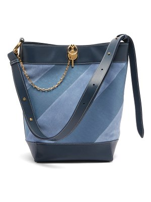 J.W.ANDERSON keyts striped leather & suede tote