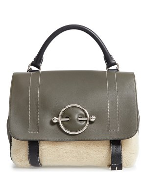 J.W.ANDERSON large disc leather & genuine shearling satchel