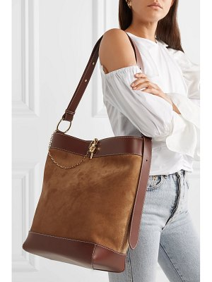 J.W.ANDERSON lock leather-trimmed suede tote