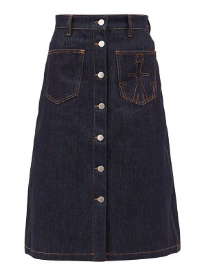 J.W.ANDERSON logo-embroidered a-line denim skirt