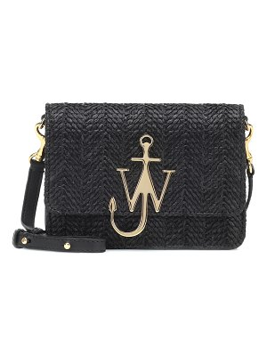 J.W.ANDERSON Logo raffia and leather shoulder bag