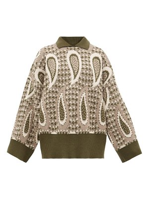 J.W.ANDERSON point collar paisley intarsia wool sweater
