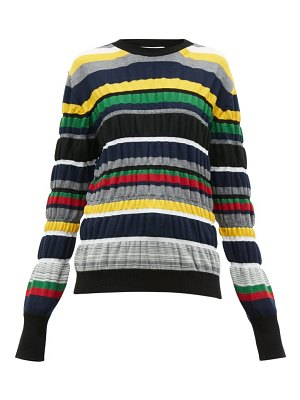 J.W.ANDERSON ruched stripe wool blend sweater