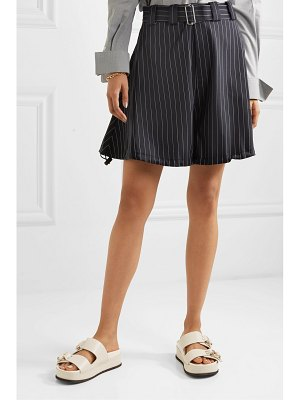 J.W.ANDERSON striped belted wool-blend shorts