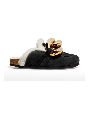 J.W.ANDERSON Suede Shearling Chain Mules