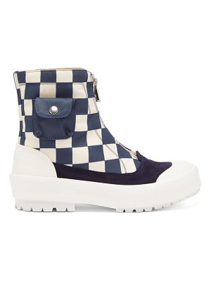 J.W.ANDERSON zipped check cotton-canvas boots