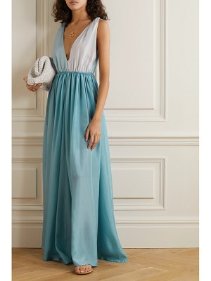 KALITA adonis two-tone silk-habotai maxi dress