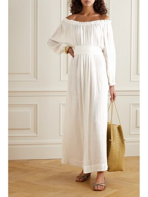 KALITA pegasi off-the-shoulder belted cotton-gauze maxi dress