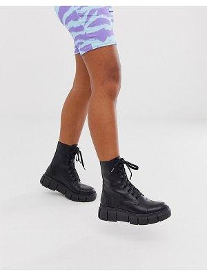 Kaltur black leather chunky flat boots