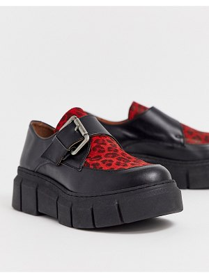 Kaltur red leopard chunky shoes with buckle detail