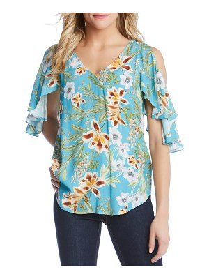 Karen Kane cold shoulder ruffle top