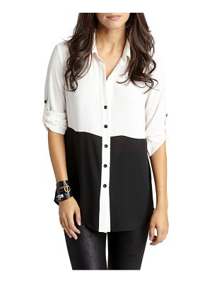 Karen Kane colorblock button front shirt