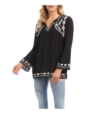 Karen Kane embroidered side slit tunic top