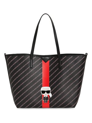 Karl Lagerfeld All over logo faux leather tote bag