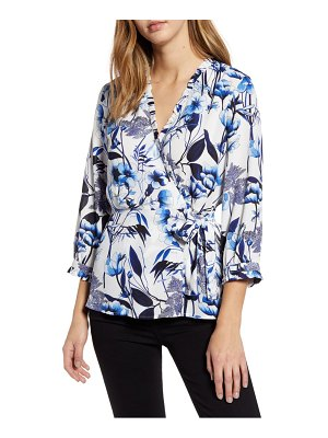 Karl Lagerfeld Paris floral faux wrap top