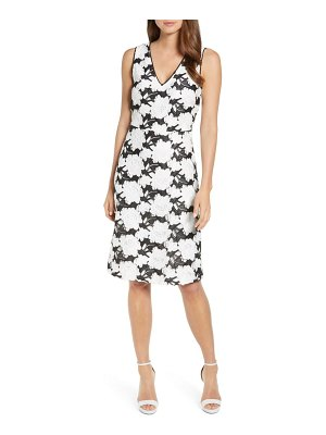 Karl Lagerfeld Paris lace overlay sleeveless fit & flare dress