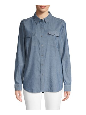 Karl Lagerfeld Paris Logo Chambray Button-Down Shirt