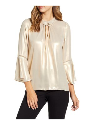 Karl Lagerfeld Paris metallic sheen lace inset bell sleeve blouse