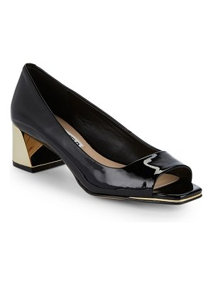 Karl Lagerfeld Paris Patent Leather Block Heel Pumps