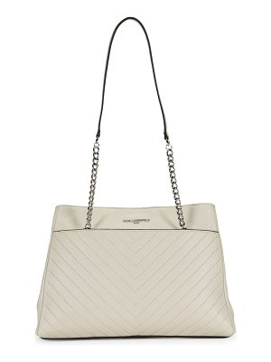 Karl Lagerfeld Triple-Compartment Leather Tote