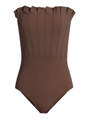 Karla Colletto lana pleated bandeau one-piece swimsuit