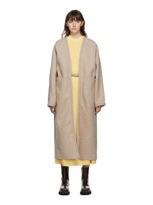 Kassl Editions beige wool v-wrap below coat