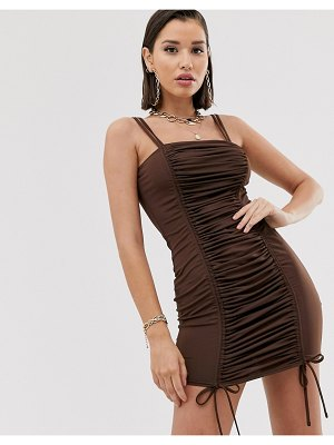 Katch Me katchme ruched drawstring mini dress in chocolate-brown