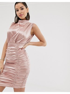 Katch Me katchme satin ruched mini dress in pink champagne