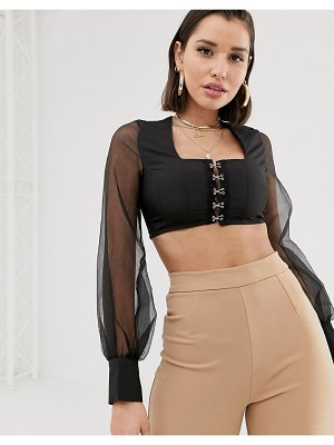 Katch Me katchme sheer sleeve crop top with hardware detail in black