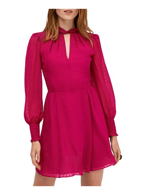 Kate Spade New York clip dot smocked bishop-sleeve mini dress