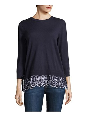 Kate Spade New York eyelet hem sweater