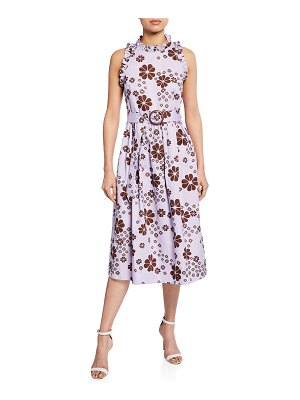 Kate Spade New York floral-print sleeveless belted midi racerback dress