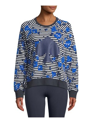 Kate Spade New York hibiscus striped ruffle pullover