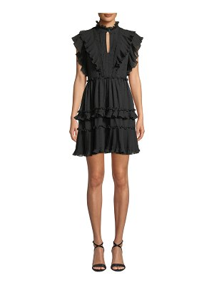 Kate Spade New York Mock-Neck Cap-Sleeve Devore Bakery Dot Mini Dress w/ Ruffles