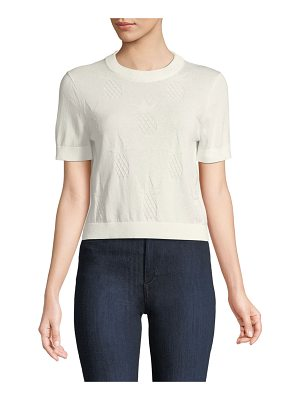 Kate Spade New York pineapple textured short-sleeve sweater top