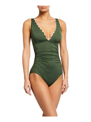 Kate Spade New York plunge one-piece ruched scallop edge swimsuit