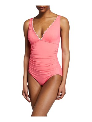 Kate Spade New York plunging scalloped one-piece swimsuit