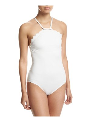 Kate Spade New York scalloped high-neck one-piece swimsuit