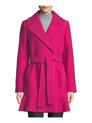 Kate Spade New York transitional boiled flounce-hem wool coat