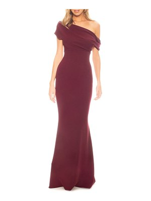 Katie May hannah off the shoulder crepe trumpet gown