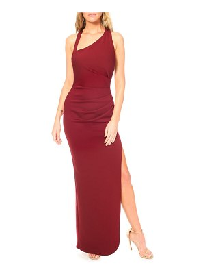 Katie May teaser asymmetrical halter gown