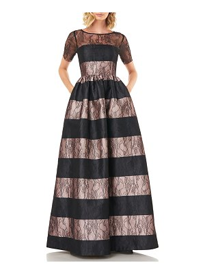 Kay Unger Alexis Striped Short-Sleeve Mikado Ball Gown with Lace