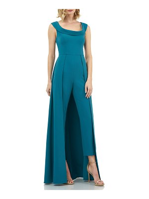 Kay Unger Anais Stretch Crepe Jumpsuit with Skirt Overlay