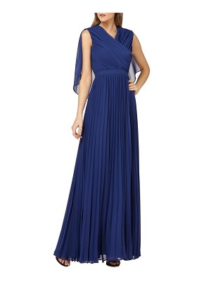 Kay Unger capelet sleeves pleated evening dress
